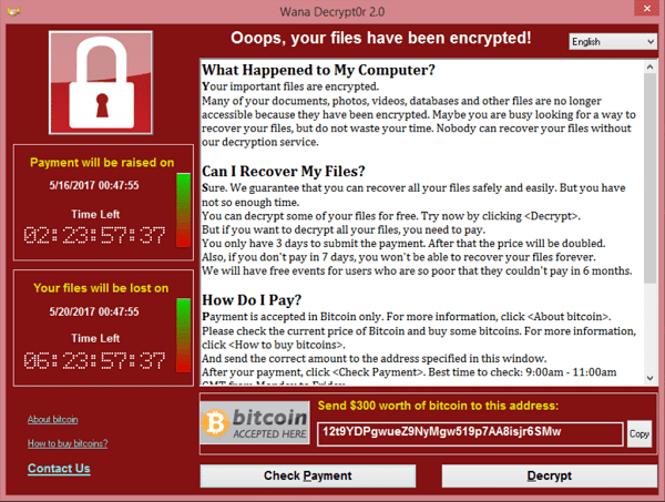 Wana Decryptor screenshot from the WannaCry ransomware