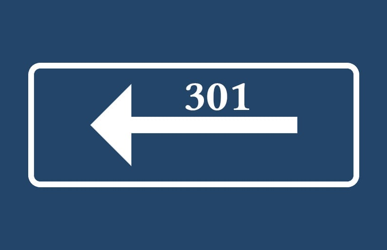 301 redirect road sign
