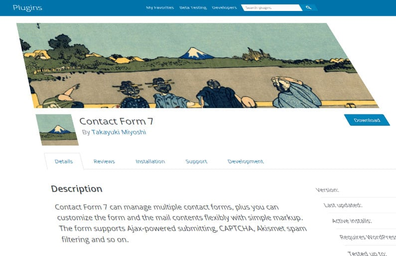 Skewed Contact Form 7 plugin page